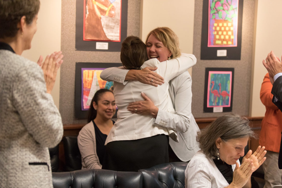 Dayna Bashara reacts as she is formally announced as the finalist for the Alamo Heights Superintendent position.