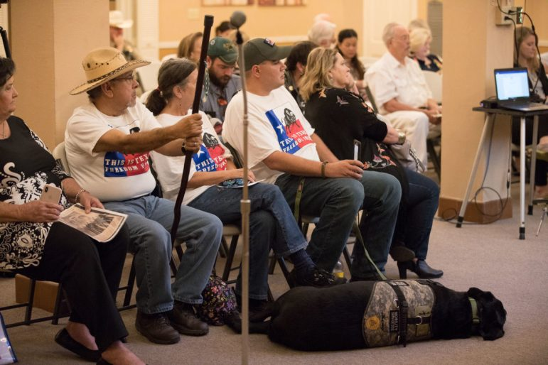 Members of This Is Texas Freedom Force attend the public board meeting for the Alamo Trust.