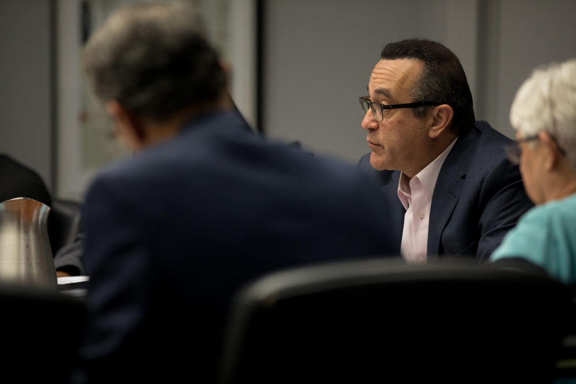 Frank Garza, a former city attorney, updates fellow members of the Charter Review Commission on the progress of his sub-committee's recommendations.