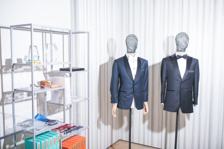 Tuxedos and custom accessories in the Limatus Bespoke showroom.