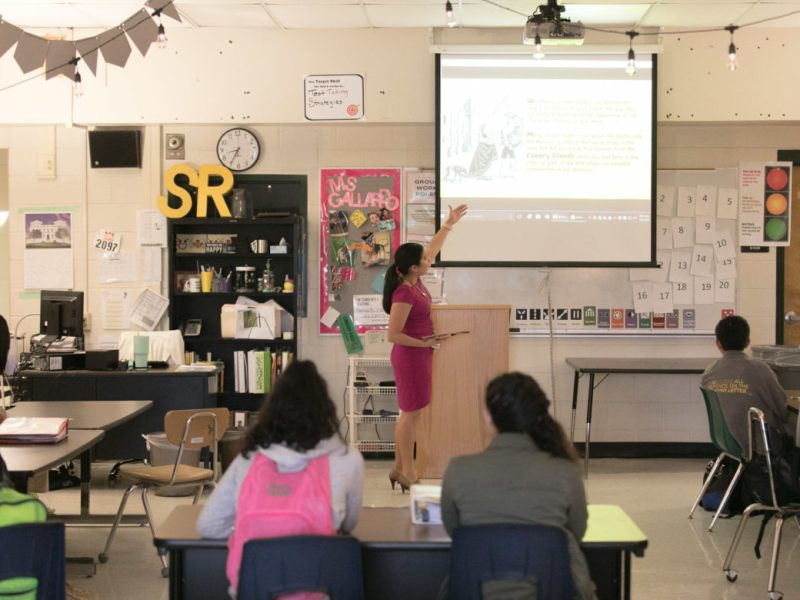 Sul Ross Middle School gifted and talented teacher Lizette Gallardo teaches her class about Canary Island.