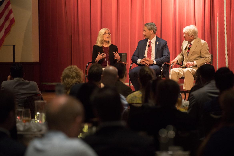 Rivard Report Editor and Chief Beth Frerking moderates a panel with Mayor Ron Nirenberg and 40-year mayor of Charleston South Carolina Joseph Riley (right).