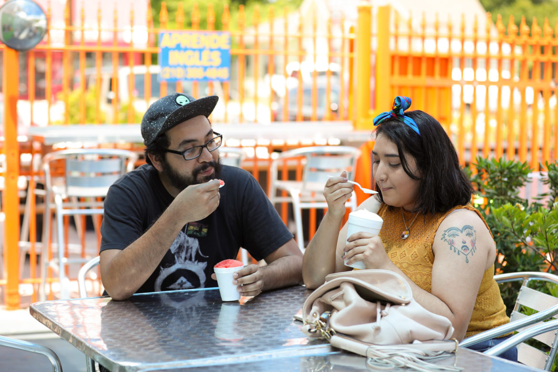 Edward Flores and Cassandra Martinez enjoy shaved ice.
