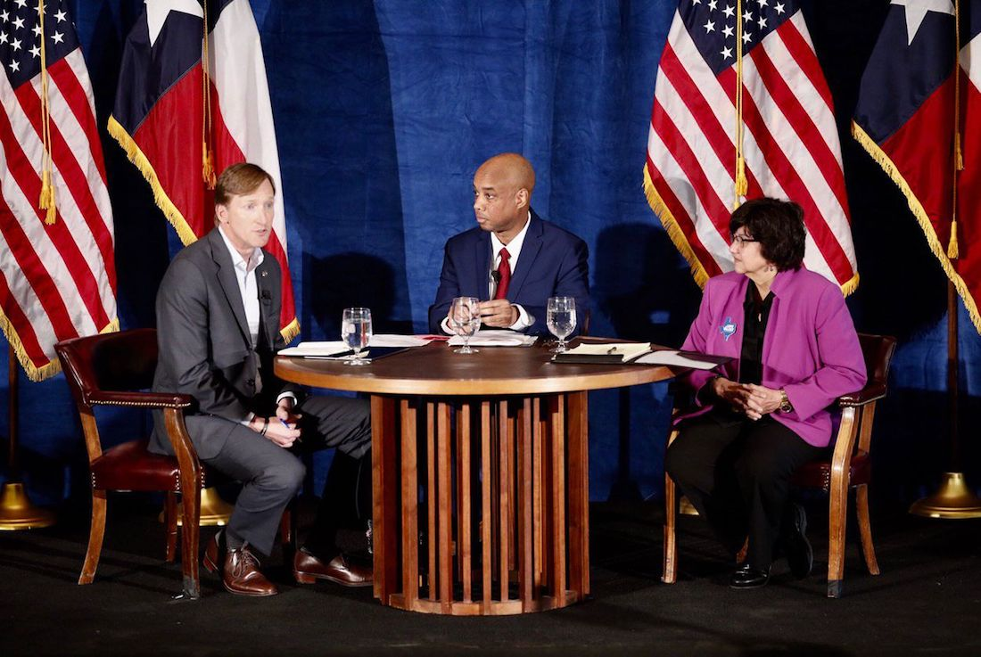 Democratic candidates for governor Andrew White (left) and Lupe Valdez (right) hold a debate at St. James Episcopal Church in Austin on Friday, May 11, 2018.