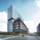 This rendering shows a view of the project from Broadway Street and Newell Avenue.