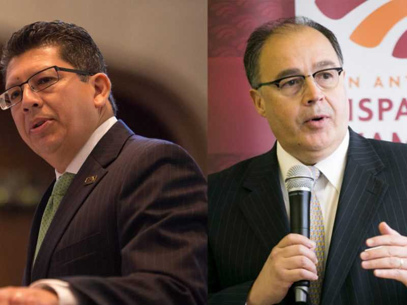 (From left) Richard Perez, San Antonio Chamber of Commerce President and CEO, and Ramiro Cavazos, San Antonio Hispanic Chamber of Commerce President and CEO, remained silent regarding the Republican National Convention.
