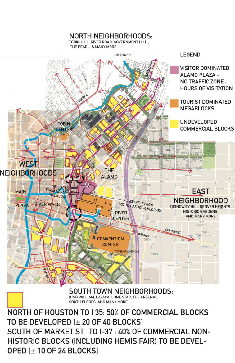 This map shows the developed and undeveloped spaces in the urban core.