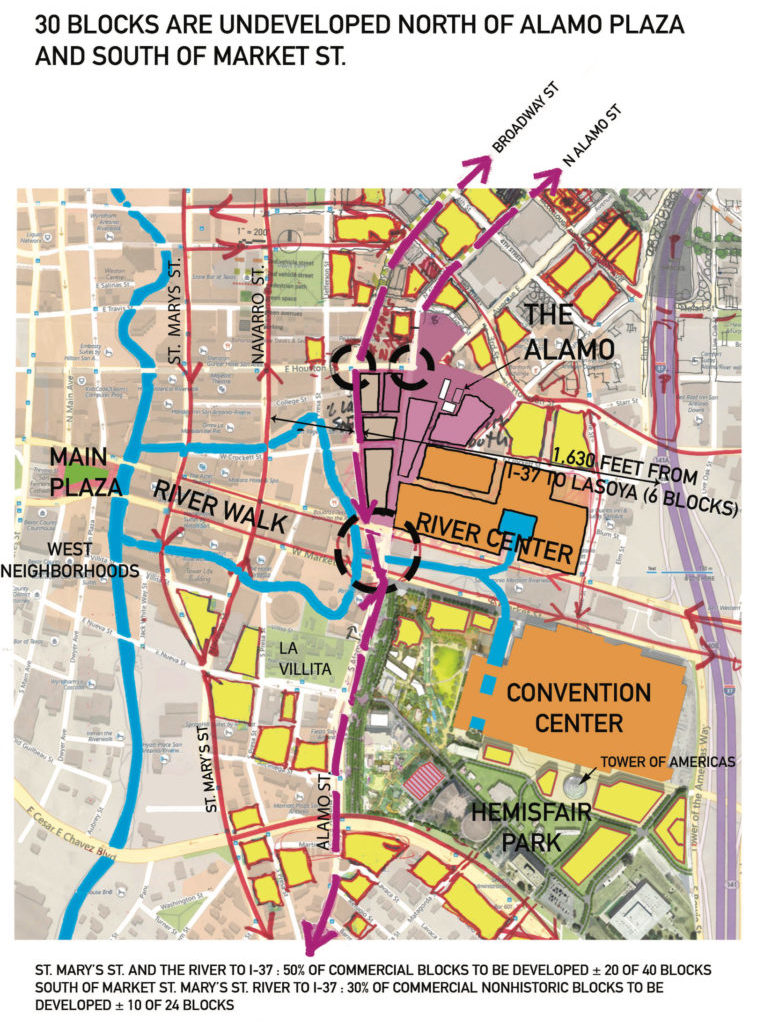 A close-up of the developed and undeveloped spaces map of the urban core.