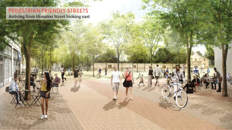 This rendering shows Houston Street reimagined into a pedestrian friendly street.