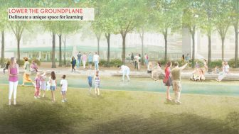 A rendering showing the lowering of the plaza surface which is proposed to be 12 to 16 inches below street level.