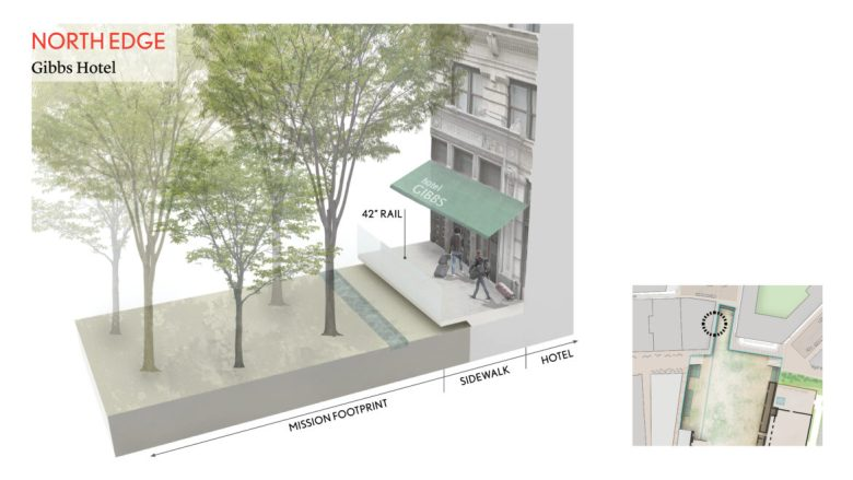 """This rendering shows the 42"""" rail in front of the Gibbs Hotel."""