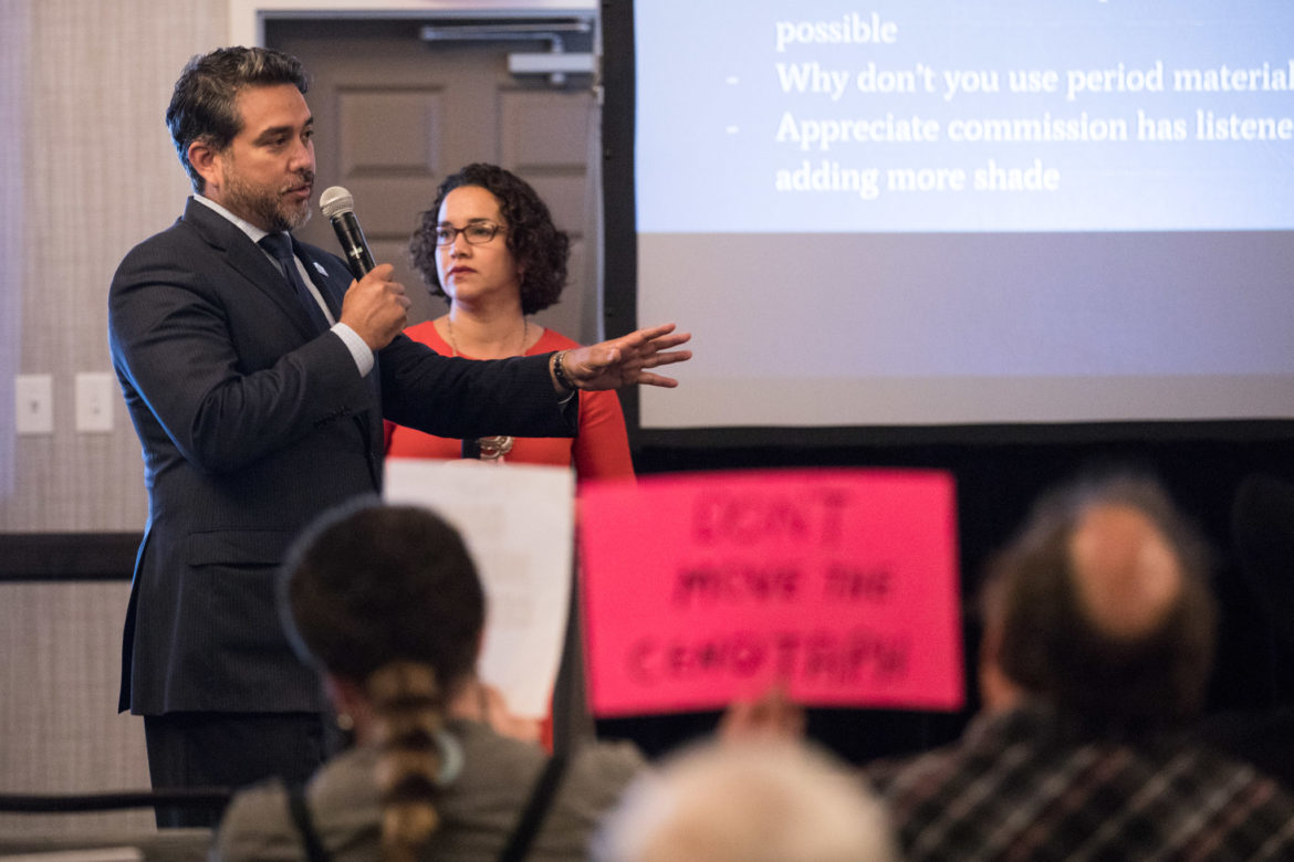 Councilman Roberto Treviño (D1) and Patricia Mejia answer questions that the audience texted in regarding the interpretive plan.