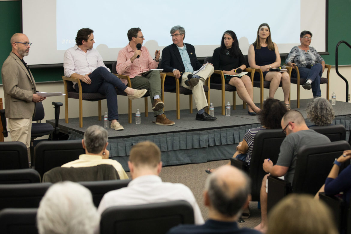 (From left) Moderator Jim Bailey, panelists John Cooley, Peter French, David Bogle, Anisa Schell, Ashley Smith, and Liz Franklin.