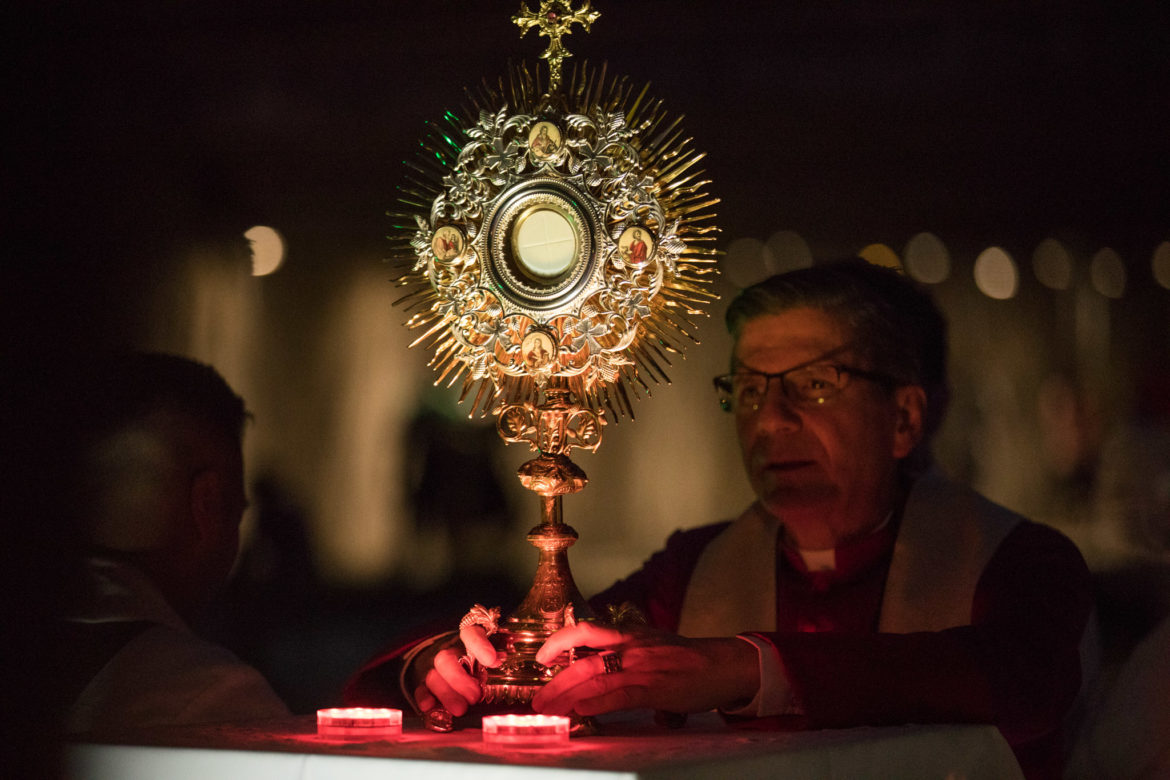 """""""The blessed sacrament"""" is the eucharist from the St. Anthony feast day mass, held in the monstrance by Archbishop Gustavo García-Siller."""