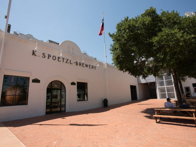 The entrance to Spoetzl Brewery.