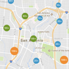 CityFlag's 311 mobile application for San Antonio shows clusters of issues reported.