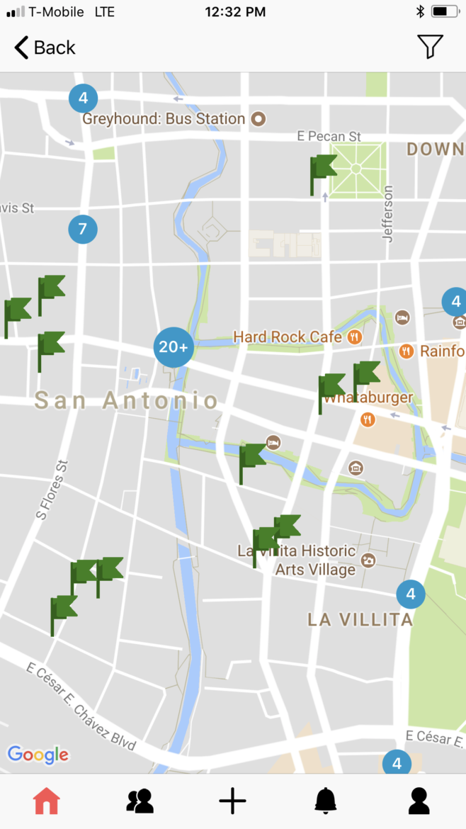 The interactive map on Cityflag's 311 mobile application for San Antonio shows where issues have been reported, indicated with a green flag.