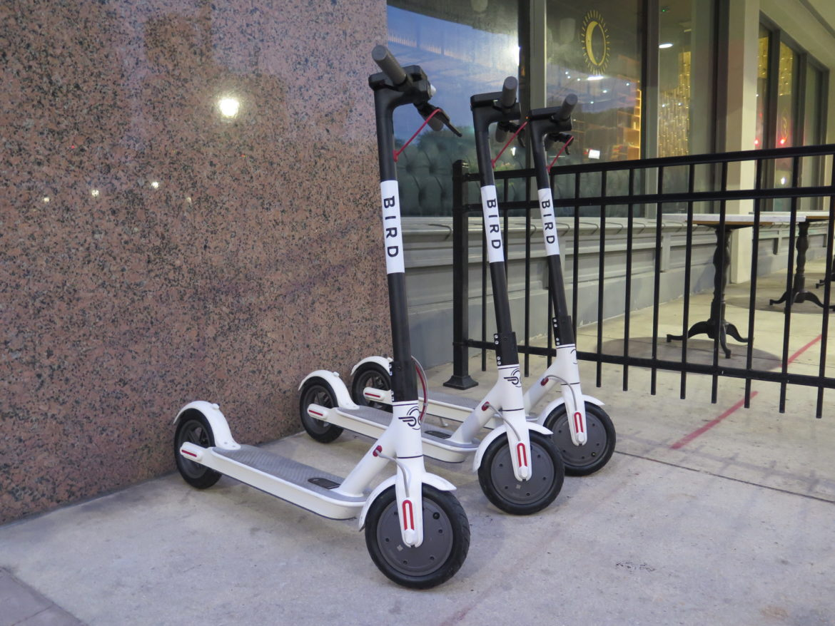 Bird scooters landed across downtown San Antonio early Friday morning.