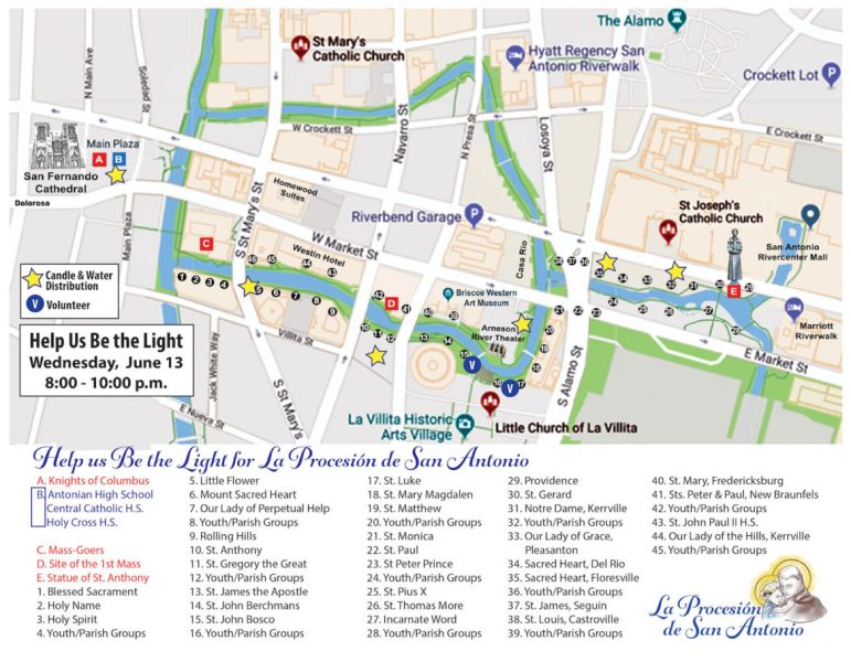 This map shows the route La Procesió de San Antonio will take on the River Walk Wednesday night.