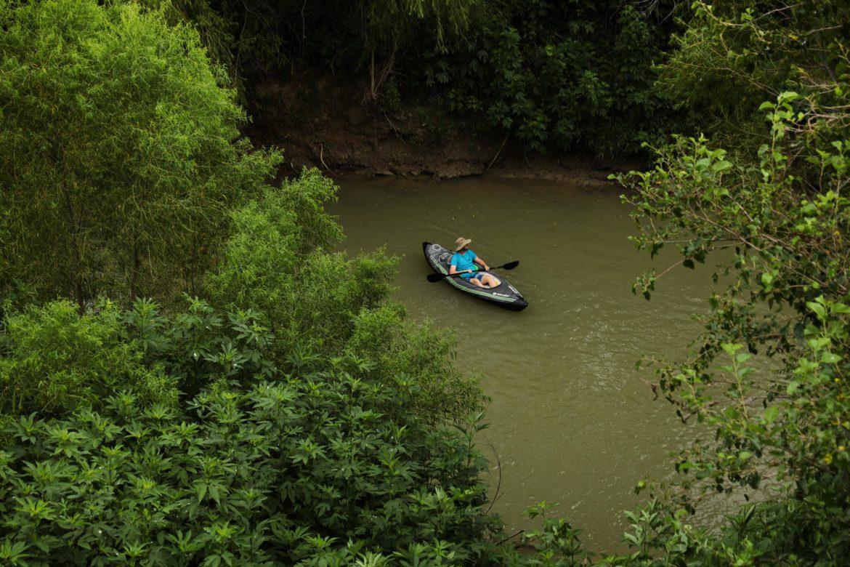 The Trailist Brendan Gibbons floats down the San Antonio River at Saspamco.