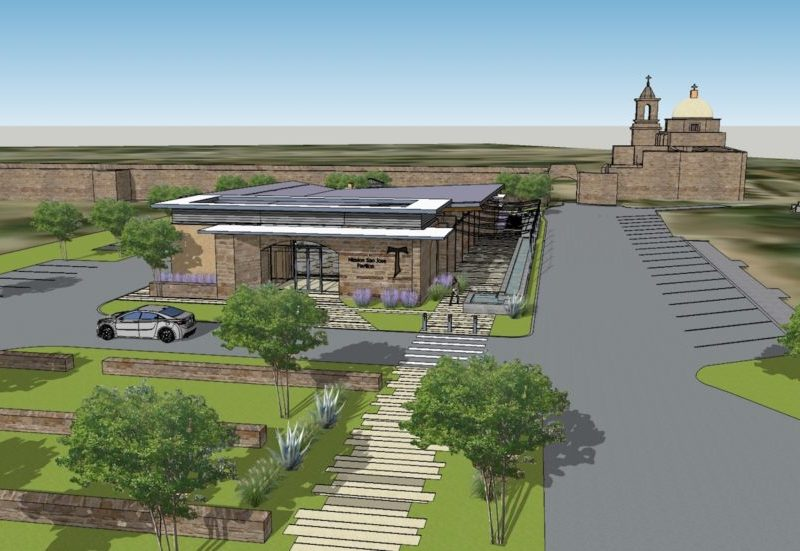This preliminary rendering shows the proposed parish hall at Mission San José.