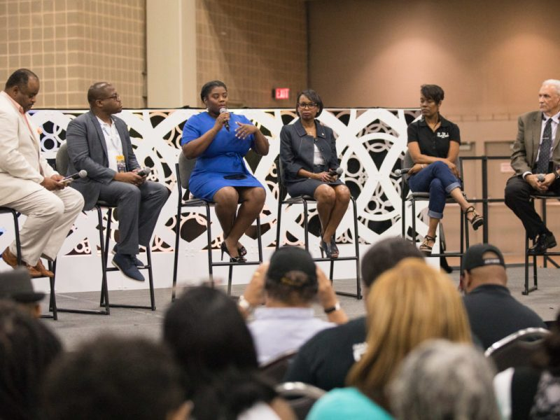 (From left) Journalist and panel moderator Roland Martin, Jamal Watkins, NAACP Vice President for Civic Engagement, L. Joy Williams, NAACP Brooklyn Branch President, Ivy Taylor, City of San Antonio former mayor, Neka Carver, community activist, and Mario Salas, professor of political science and lecturer at UTSA, sit on a #blacklivesmatter panel discussion.