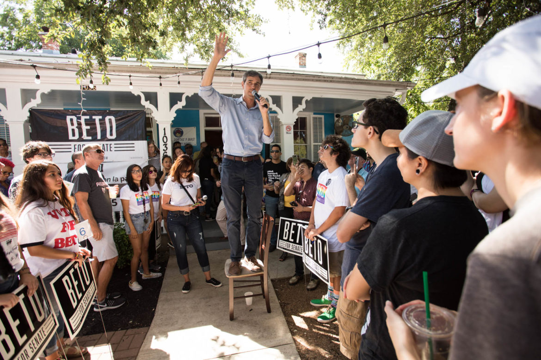 U.S. Rep. Beto O'Rourke (R-El Paso) gives a speech at a LGBTQ+ town hall at Casa Azul de Andrea on July 13, 2018.