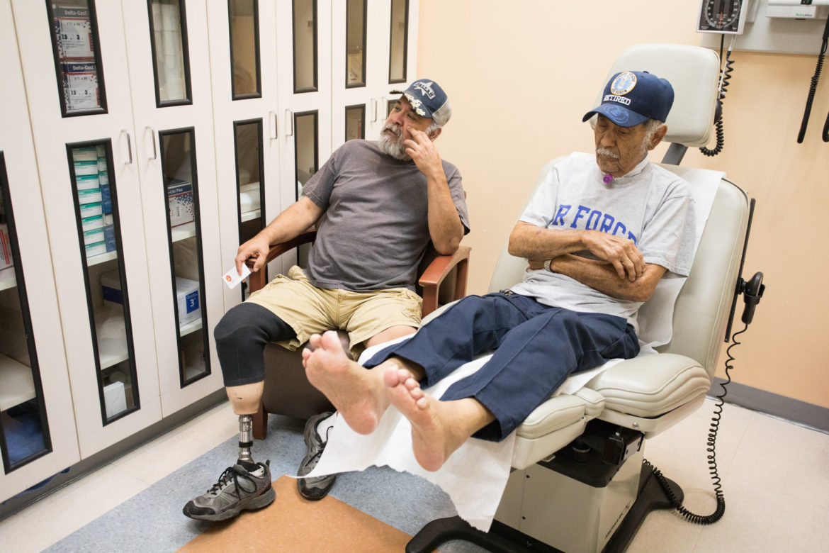 (From left) Juventino Lopez Jr. and Juventino Lopez speak of their experience with diabetes and loosing limbs.