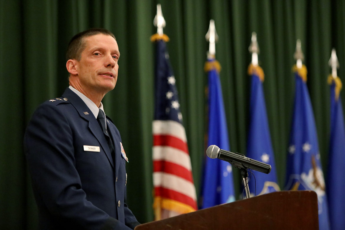 Maj. Gen. Robert J. Skinner, incoming Commander of 24th Air Force, speaks during the 24th Air Force Command Reassignment and Change of Command Ceremony held Tuesday July 17, 2018 at Joint Base San Antonio-Lackland.