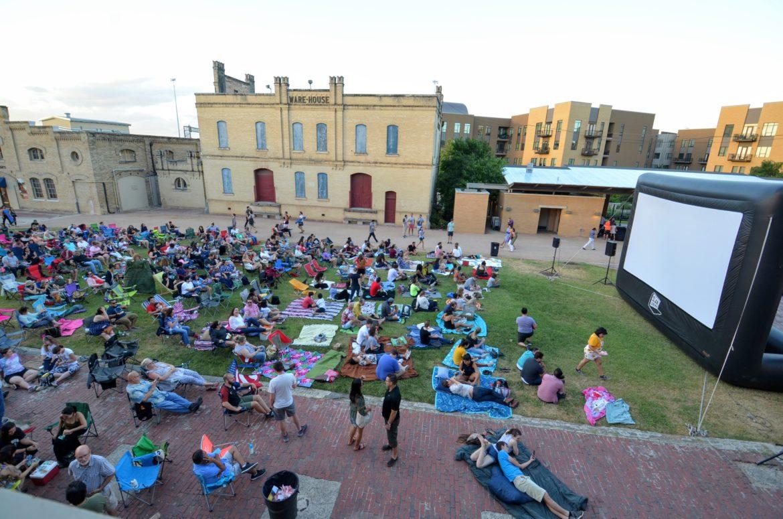 Slab Cinema screens a movie outside of the San Antonio Museum of Art.