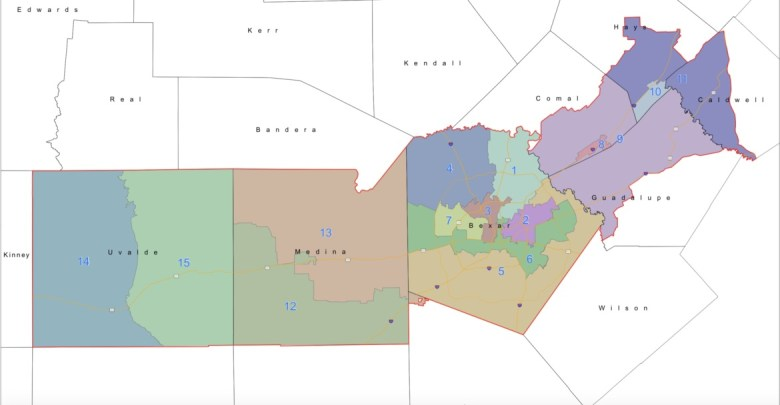 Voting districts for the Edwards Aquifer Authority's board of directors.