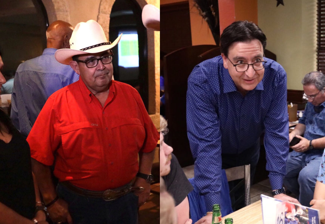 (From left) Republican candidate for Senate District 19 Peter Flores and Former U.S. Rep Pete Gallego.