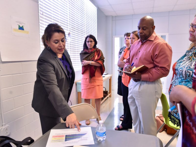 SAISD's Dr. Olivia Hernandez talks with principal's and assistant principal's during a dual-language training session at the Pickett Academy Tuesday morning.