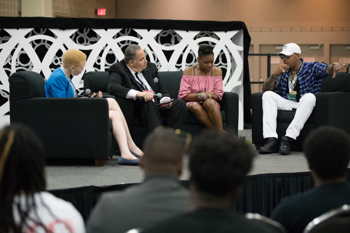 NAACP panel 'War on You and Me: The Fight for Racial Justice on the Cannabis Frontier (from left) Ngozi Ndulue, Richard Smith, Dasheeda Dawson, and rapper King Kyle Lee.