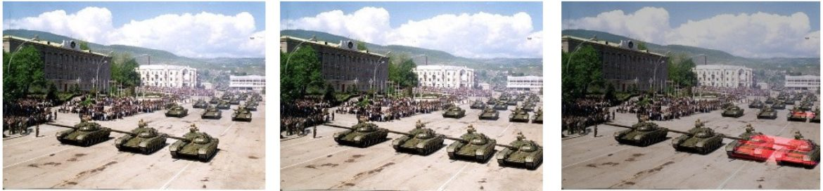 Filestack provided this example of a manipulated image: The original image (left) has been altered into the images on the right, where more tanks have been added into the frame.
