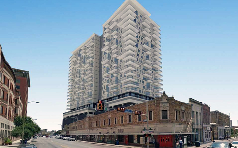 The proposed development featured mixed use amenities such as living and street level shopping.