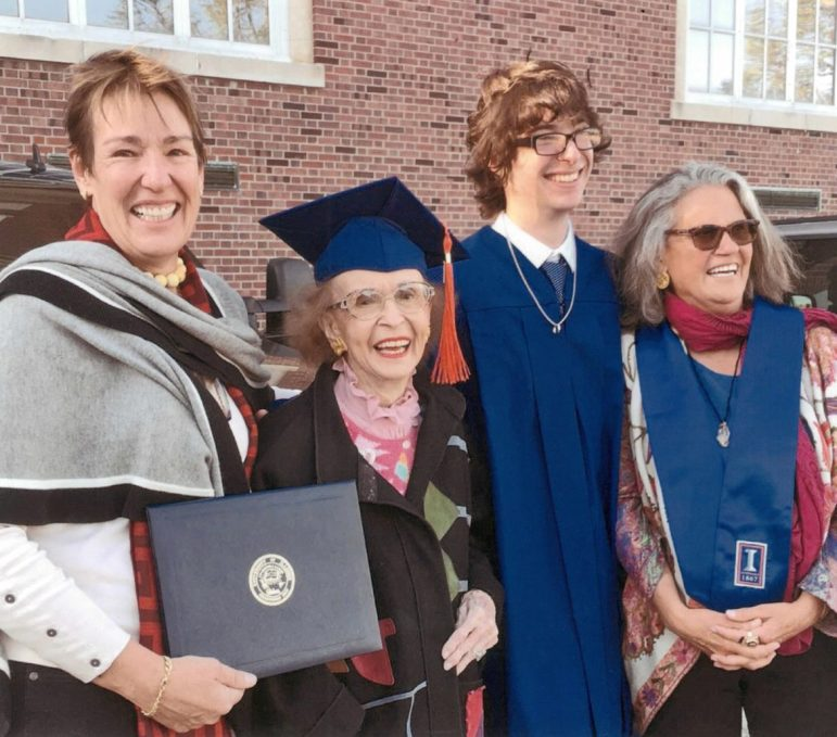 Edith attended her grandson Wyatt Spalding McAllister's graduation from the University of Illinois with her daughter Eloise (right) and her spouse Adrienne Braswell (left).