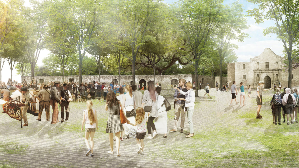 This rendering shows programming and visitors inhabiting the Alamo grounds.