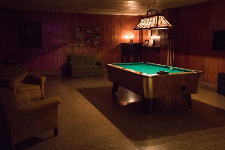 A pool table in Rathskeller Bar.