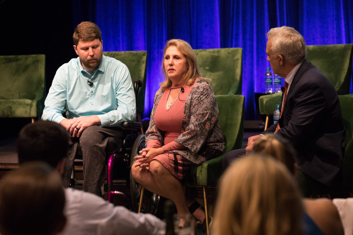 (From left) Kris Workman and Julie Workman speak to moderator Robert Rivard, Rivard Report Director, about their experience during the shooting at Sutherland Springs.