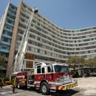 The Castle Hills Fire Department's new fire truck with a 100-foot ladder was on display in front of the previous Wedgwood Apartments.