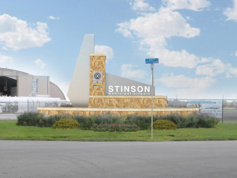 This rendering shows the new monument and signage that will be installed at Mission Road and 99th Street for Stinson Airport.