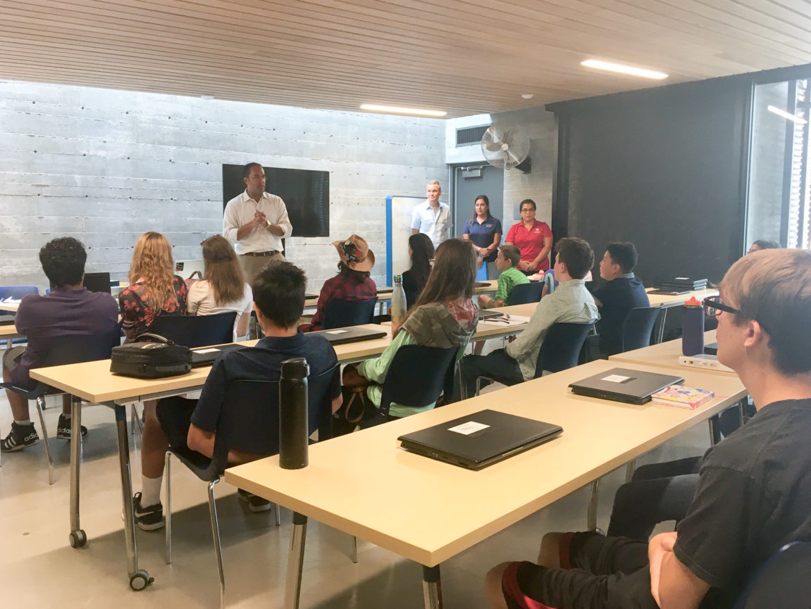 Rep. Will Hurd (R-Helotes) speaks at Confluence Park on Sunday to students enrolled in GhostWire Academy, an educational program aimed at teaching cybersecurity to teens.