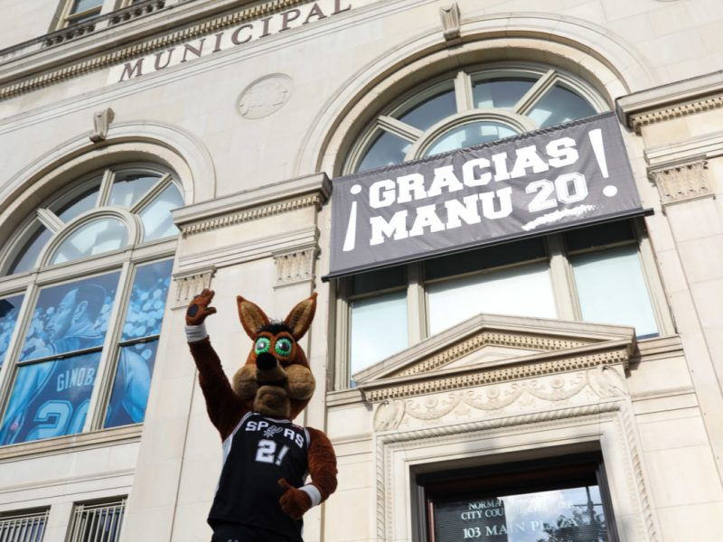 The Coyote waves in front of the Municipal Plaza Building where Manu Ginobili is being honored by the City of San Antonio.