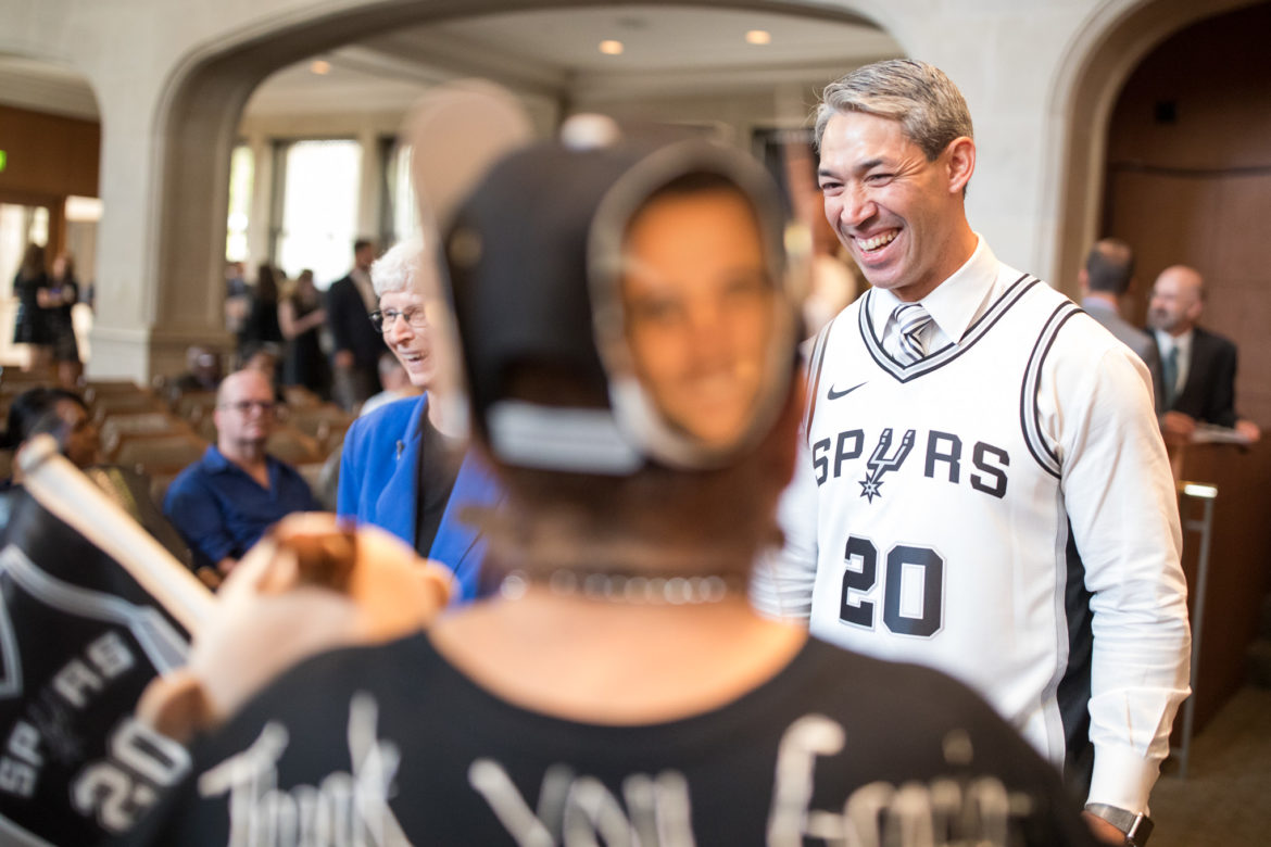 Mayor Ron Nirenberg wears a Manu Ginobili jersey to honor the 16 year San Antonio Spur who announced his retirement on Monday.