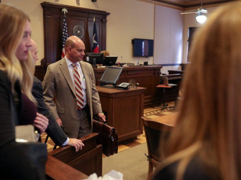 Attorney Cris Feldman representing the San Antonio Professional Firefighters Association arrives to court.