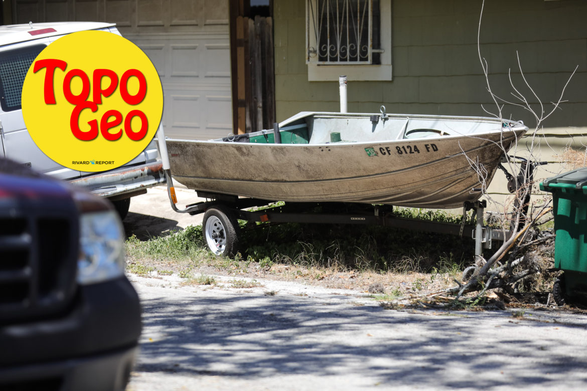 A boat sits outside of a home just South of the Alamo Heights neighborhood.