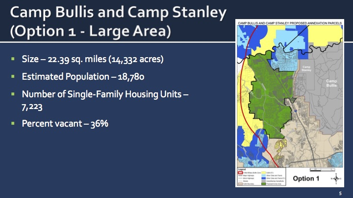 Voters will have the option of annexing areas near Camp Bullis and Camp Stanley this November.