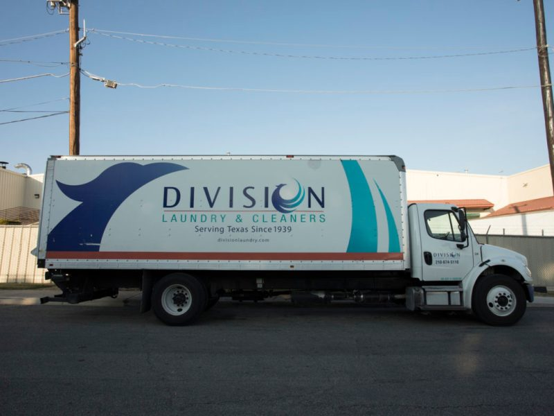 A Division Laundry & Cleaners truck.