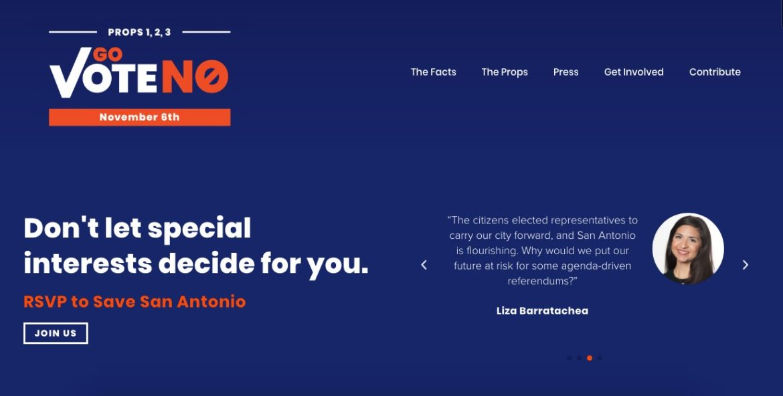 The homepage of GoVoteNo.com.